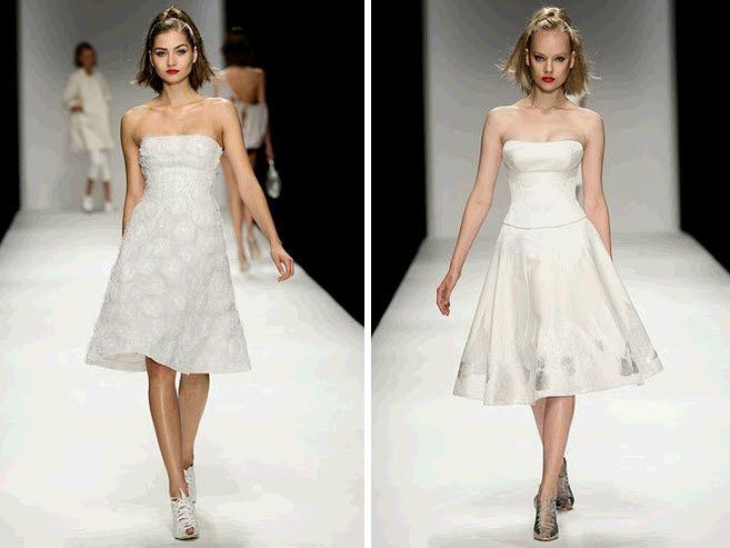 White strapless wedding reception cocktail dresses
