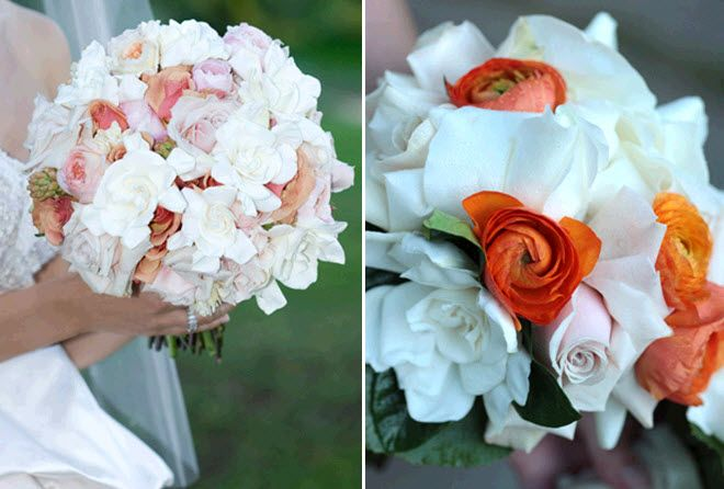 Stunning white, peach and ivory bridal bouquet; white and bright orange bridesmaids bouquets