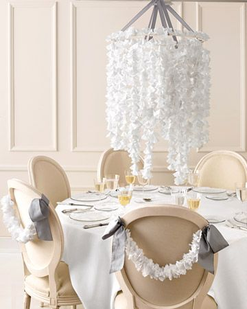 Gorgeous white doily DIY chandelier for your wedding reception