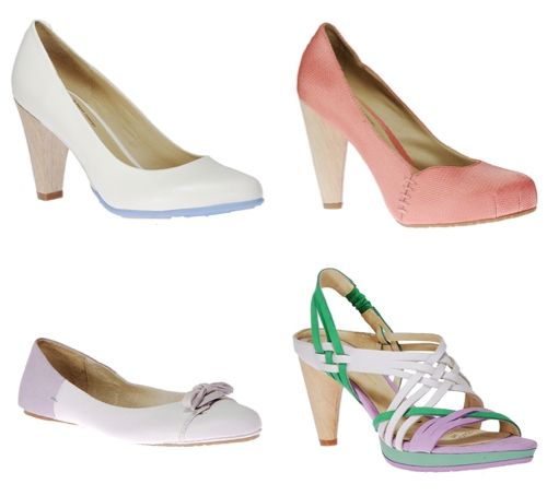 Fun and flirty eco-chic bridal heels in pastel hues
