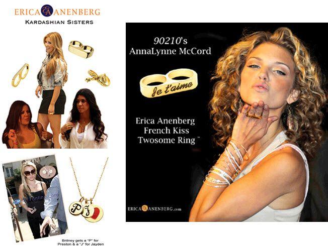 Stars like Kim Kardashian and Britney Spears love Erica Anenberg bling!