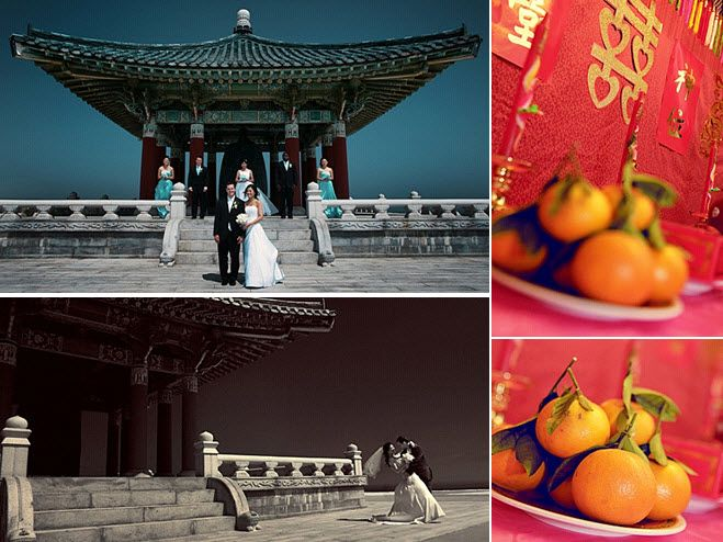 Bride, groom and bridal party pose in front of traditional Chinese pagoda; bright oranges used as we