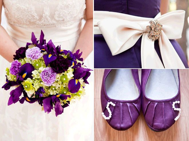 Gorgeous purple and green bridal bouquet; cream sash with brooch on bridesmaids dress