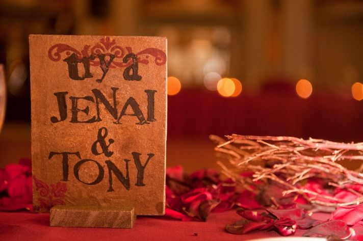 As a personal wedding reception touch, the couple's Signature Drink was a Jenai & Tony!