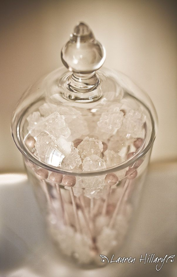 White sweet rock candy for this decadent glam bridal shower