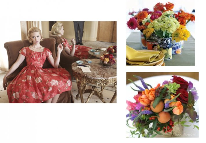 These brightly colored wild flower centerpieces are inspired by Mad Men's Betty Draper and her flora