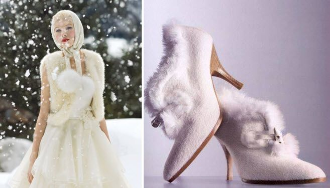 Cashmere scarf and fur-adorned boots for your winter wedding