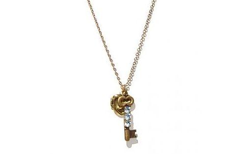 Vintage locket and key charm necklace from Inhabitat
