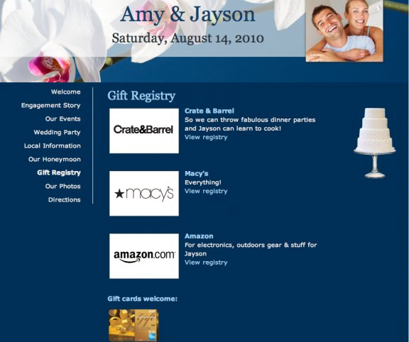Amy and Jayson's wedding website shows where they're registered