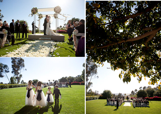 Outdoor wedding ceremony beneath gorgeous ivory and champagne arbor