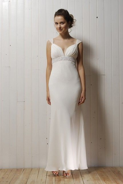 Simple ivory deep v-neck wedding dress with beading below bust