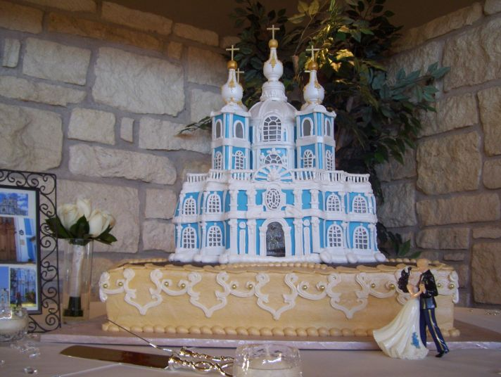 This extravagant white and blue wedding cake is designed to be a replica of a Russian Cathedral.