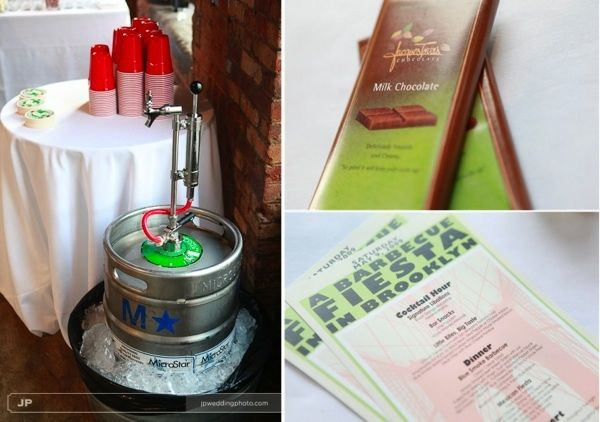 Keg of beer from local brewery, and artisan chocolate bars for wedding favors- two ways to go eco-ch