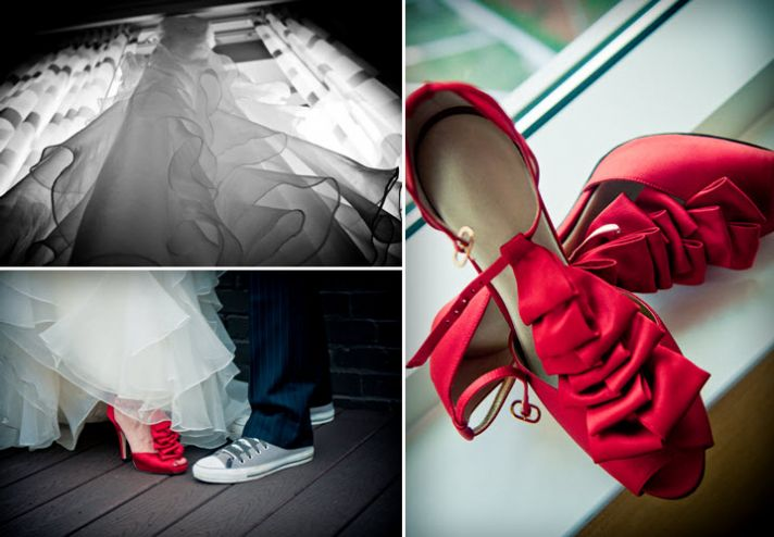 Hot red peep toe bridal heels with ruffle details; white wedding dress photographed from beneath