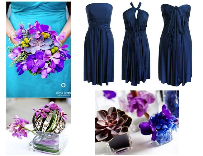 tones like deep purple and blue are perfect for a ecochic fall wedding