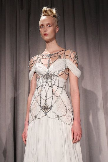 This white wedding dress by Marchesa is only for the high fashion bride.