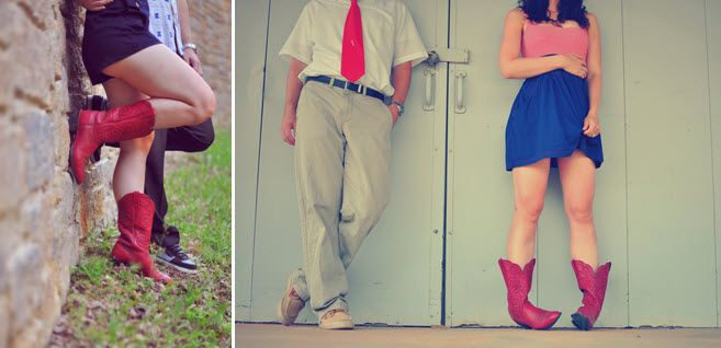 Artistic engagement session photos of young, hip couple- red white and blue attire