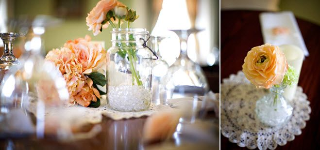Peach and ivory antique-inspired wedding reception table decor
