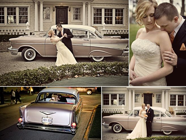 Groom in black tux dips vintage-chic bride in front of '69 Chevy