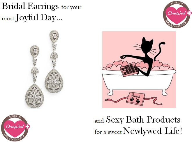 Win gorgeous pave-set bridal earrings & sweet bath products!