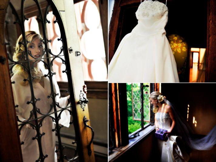 Bride's ivory strapless ballgown wedding dress hangs in window