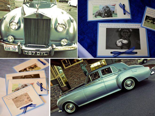 Antique wedding day transportation- a vintage Rolls Royce!