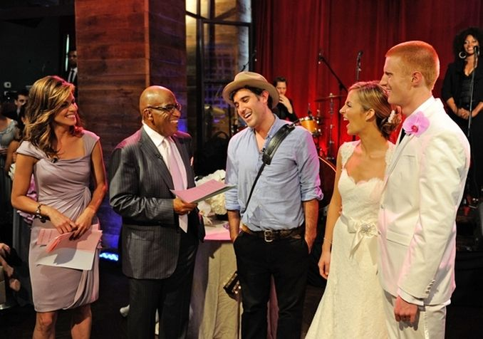 Happy bride and groom chat with Today Show hosts & special performer