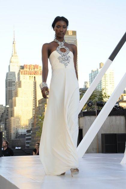 This Diane von Furstenburg dress features a stunning silver jeweled neckpiece