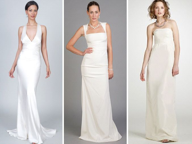 Start with a simple wedding dress, like these from J Crew & Nicole Miller