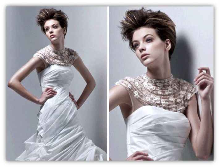 White drop waist 2011 Enzoani wedding dress with jeweled illusion neckline