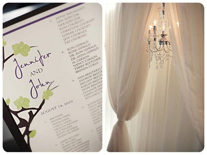 Chic white, green and purple wedding programs, and luxe wedding reception decor