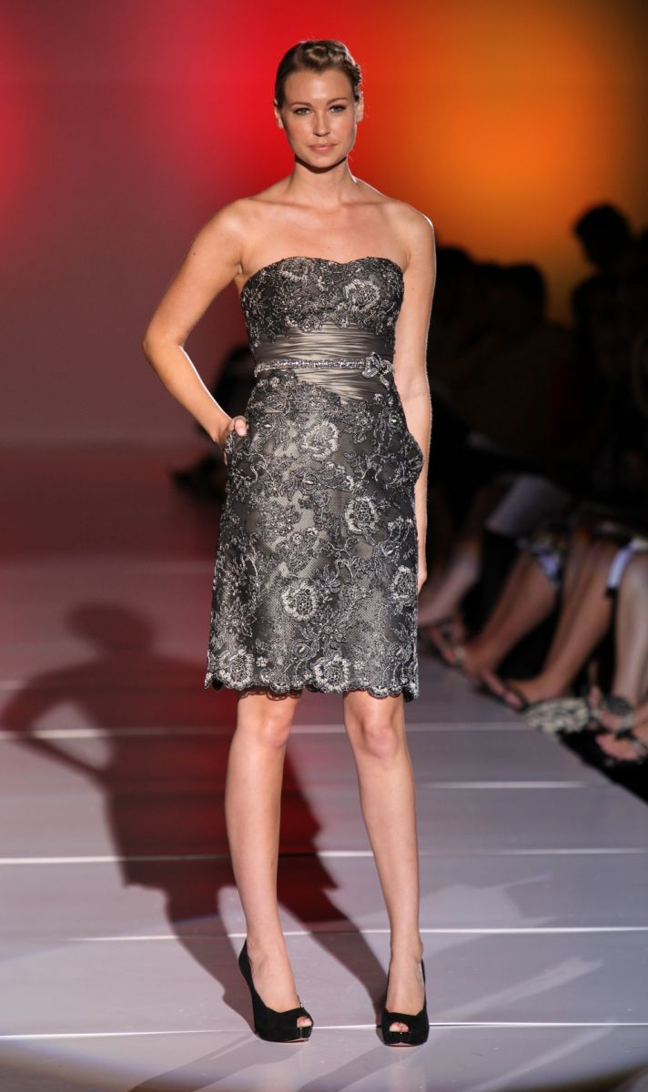 Shimmery grey lace strapless bridesmaid dress from Love by Enzoani