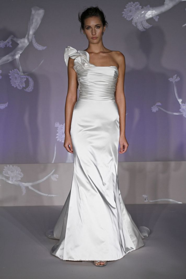 White satin mermaid style 2011 wedding dress with one shoulder and floral applique
