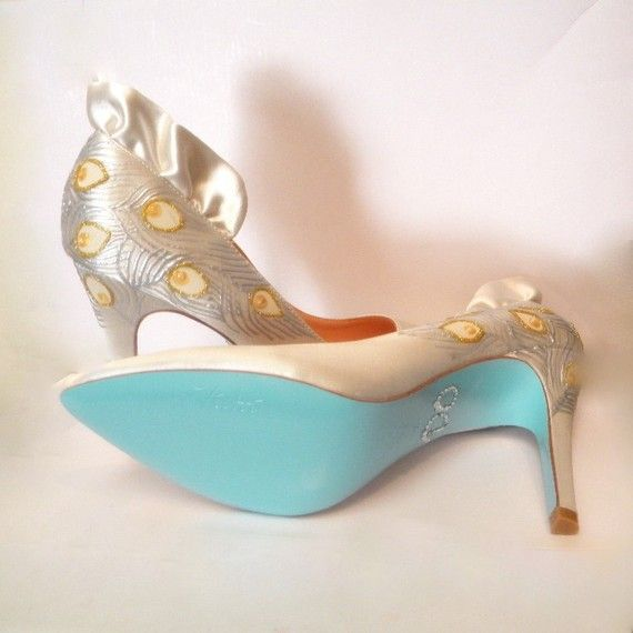 White satin handpainted bridal heels with blue sole and I Do rhinestone decal