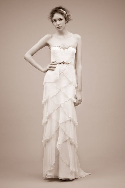 2011 strapless sheath wedding dress with beading detail by Jenny Packham