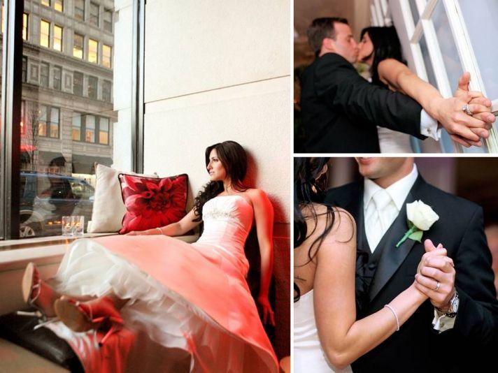 Chic Manhattan bride wears wedding dress, sits in window of wedding venue