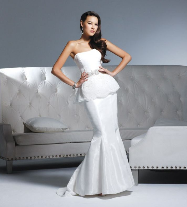White strapless mermaid wedding dress by David Tutera by Faviana