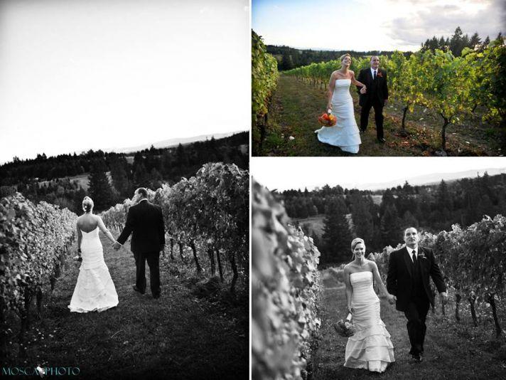 Portland bride and groom walk through vineyards of wedding venue