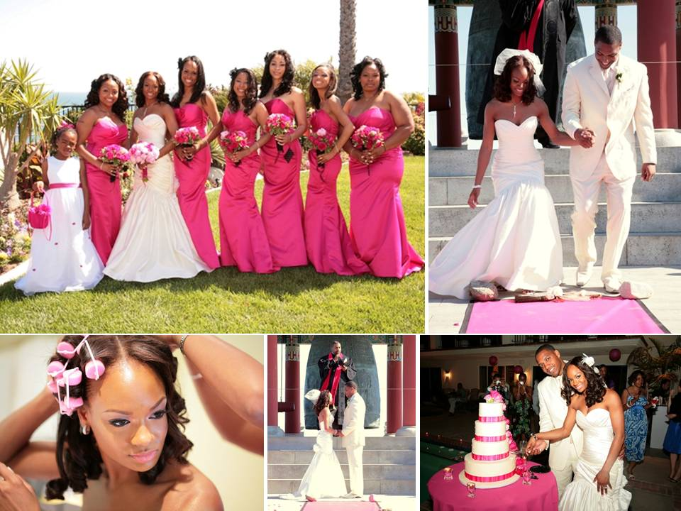 Bride wears white sweetheart Watters wedding dress bridesmaids in hot pink