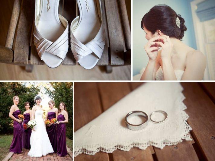 Eco-chic, vegan Pennsylvania bride wears ivory wedding dress, peep-toe bridal heels, clutches bright