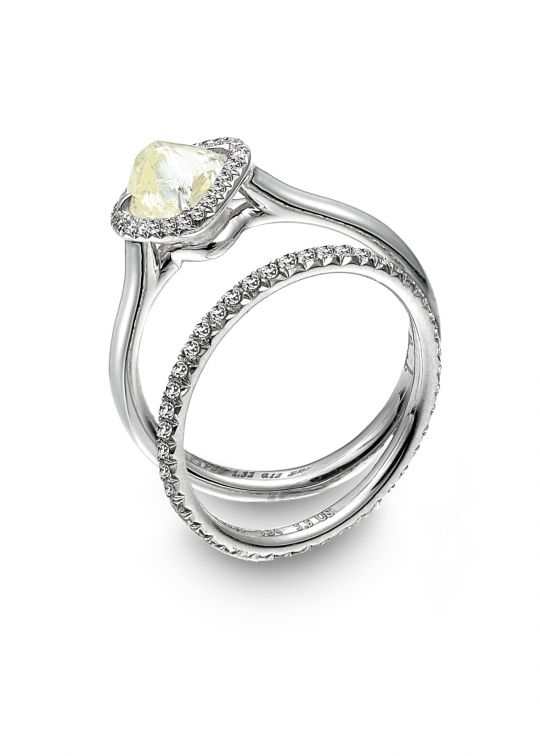 Affordable and gorgeous platinum engagement ring with natural, uncut yellow diamond