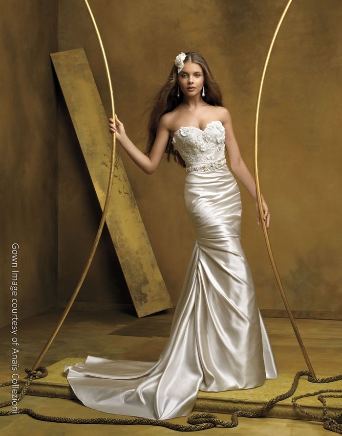 Champagne mermaid silk wedding dress with sweetheart neckline and embellished bodice