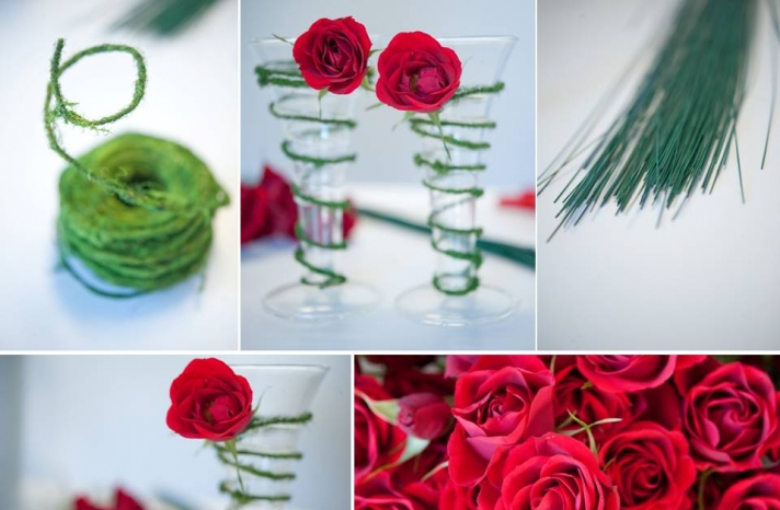 diy-winter-wedding-flowers-red-roses-green-moss-clear-hurricane-vases