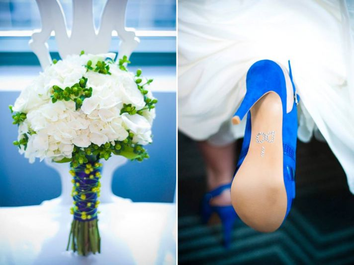 Atlanta bride wears blue bridal heels, clutches white bridal bouquet