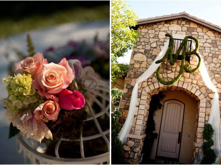Romantic peach, green, hot pink wedding flowers