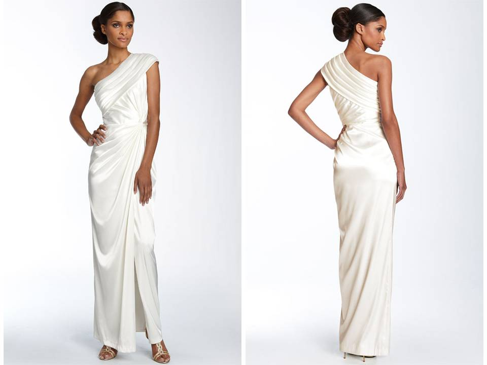 One shoulder silk charmeuse Grecianinspired wedding dress
