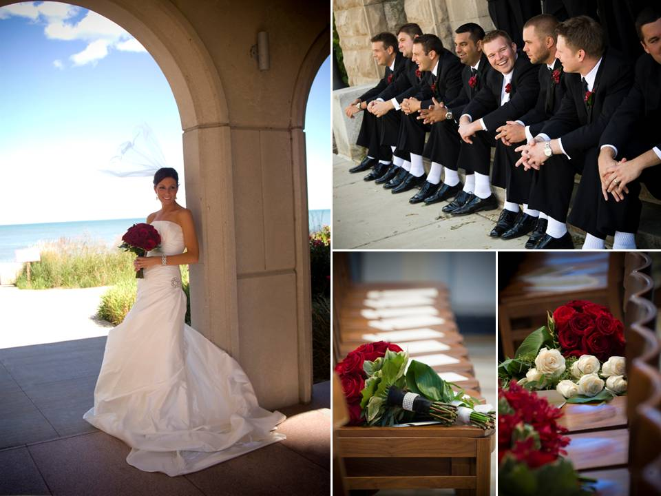 Chicago bride wears white strapless wedding dress holds crimson red bouquet