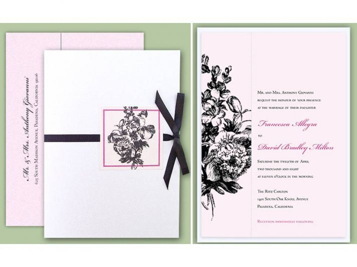 Pink, white and black Parisian chic wedding invitations