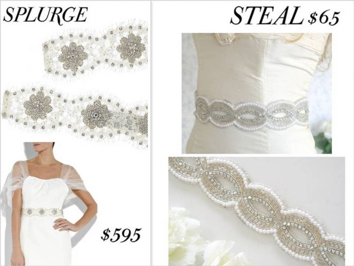 Beaded and embellished bridal belts to dress up a classic wedding dress