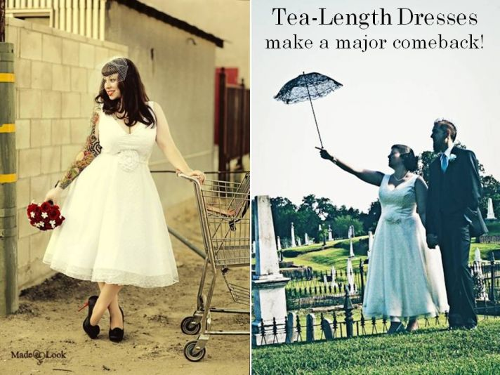 Mid-length tea dresses are on-trend for 2011 brides and bridesmaids
